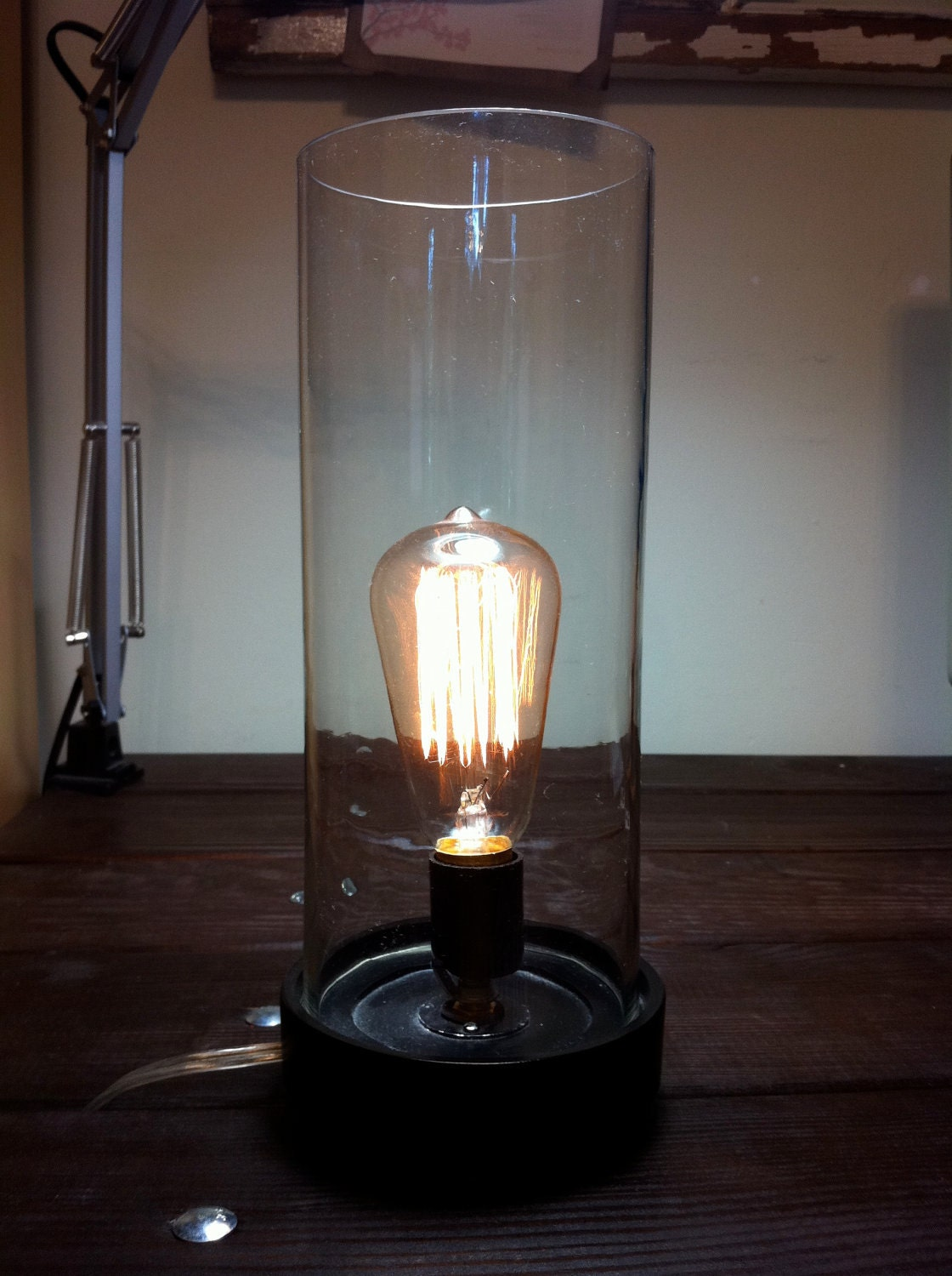 edison vintage bulb table lamp by candango on etsy. Black Bedroom Furniture Sets. Home Design Ideas