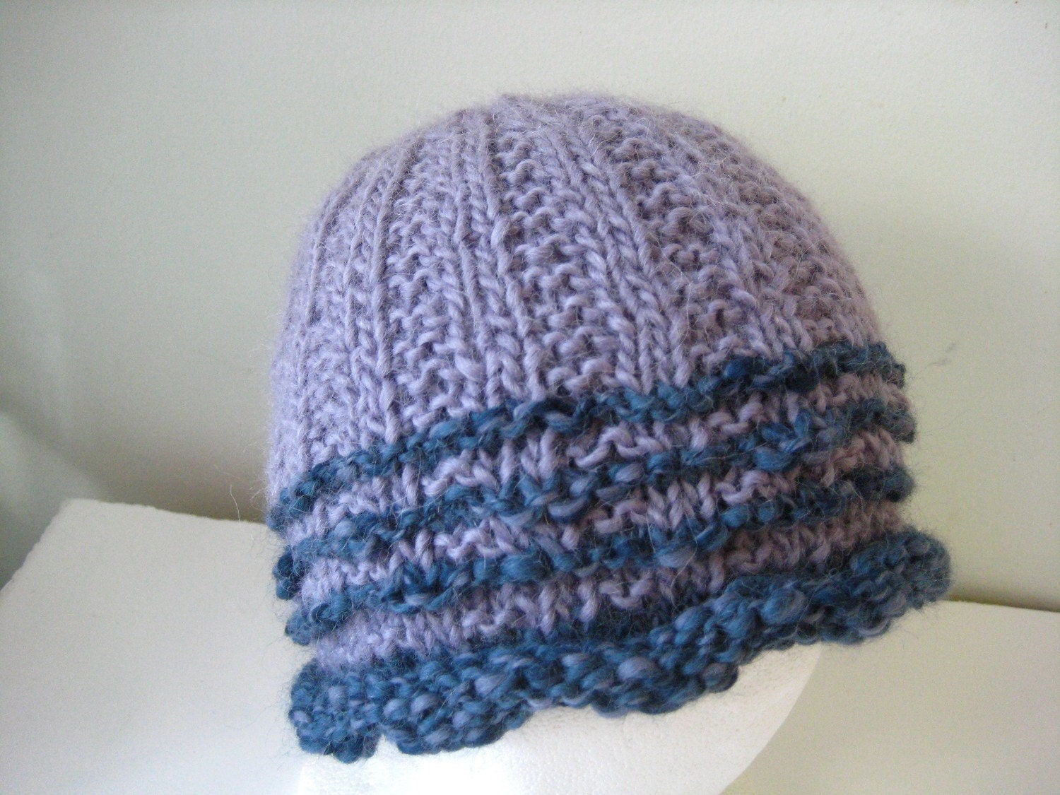 lavender and teal blue hat of llama wool and alpaca - beaconknits