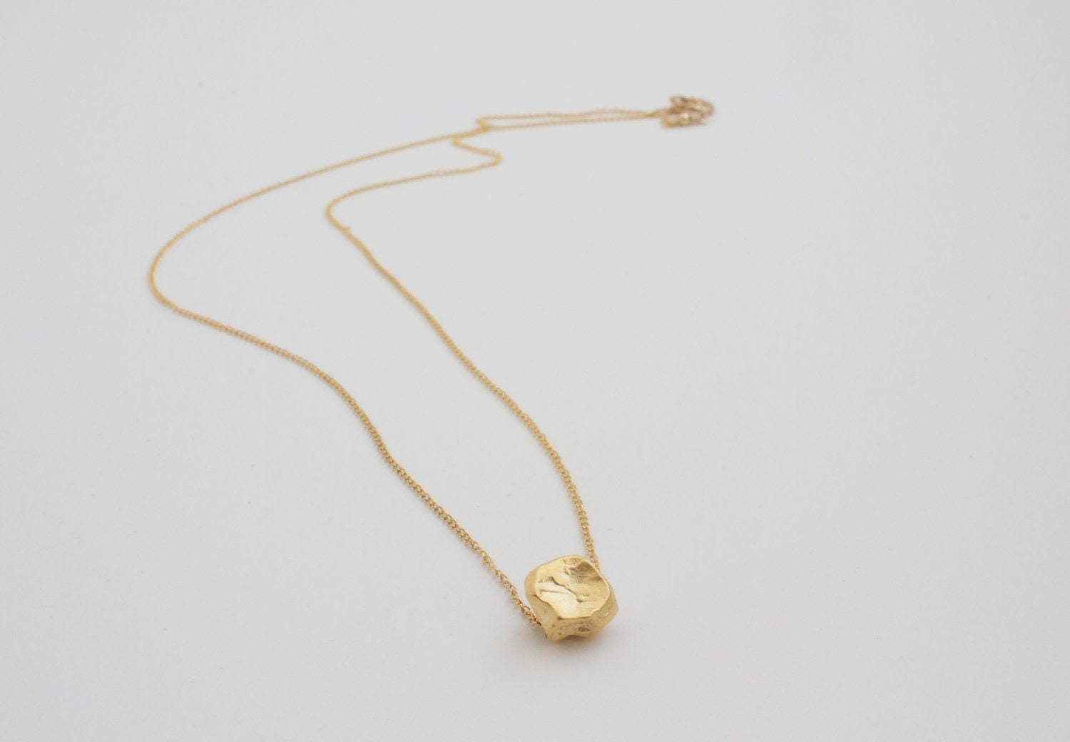 Gold Pebble Charm Neckace Simple Modern Everyday Jewelry 14K
