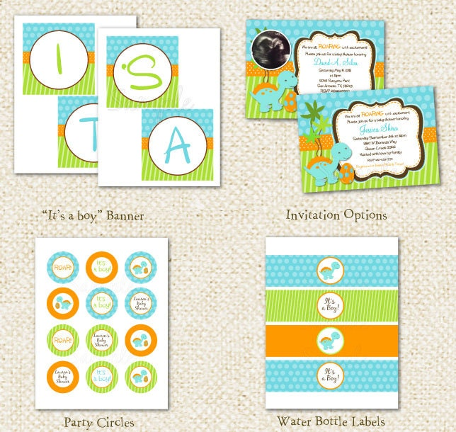 Dinosaur Baby Shower DIY Printable Personalized by LollipopPrints
