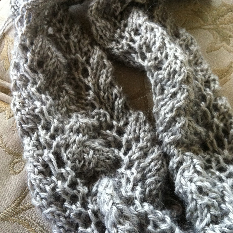Scarf Silver Silk handknit Scalloped Vine & Leaf Lace Silk