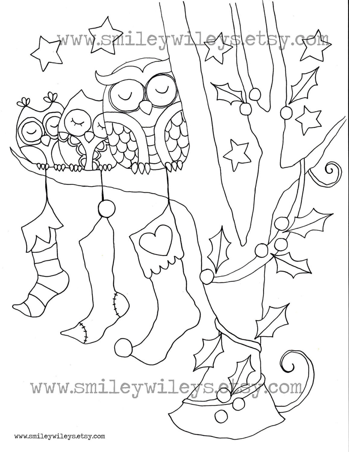 Coloring Page Christmas Owl