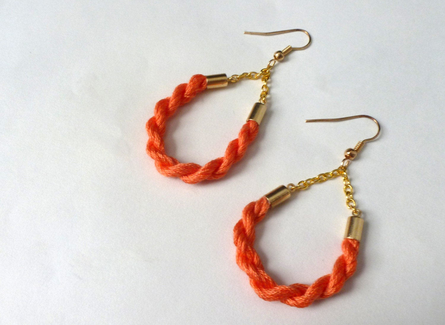 Tangerine Teardrop Cotton Candy Rope Earring -- Handmade Valentine's Gifts - LocalColorCreations