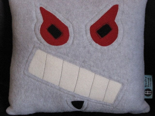 Robot Pillow Evil Geek Chic Home Decor by freakyfleece on Etsy