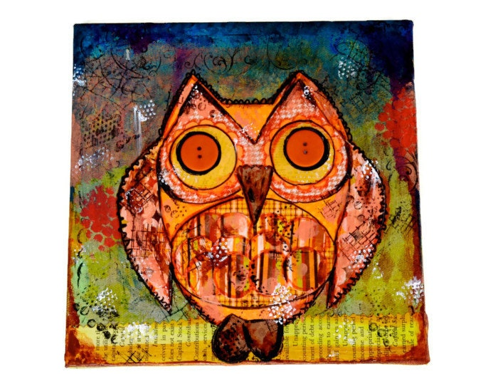 Owl collage Original Collage Mixed Media 8x18inches  Autumn Owl - valburgesscollage