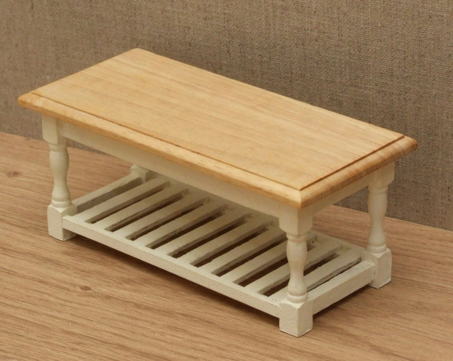 112 Scale Dolls House Kitchen table with rack  Choice of 15 colours painted to order