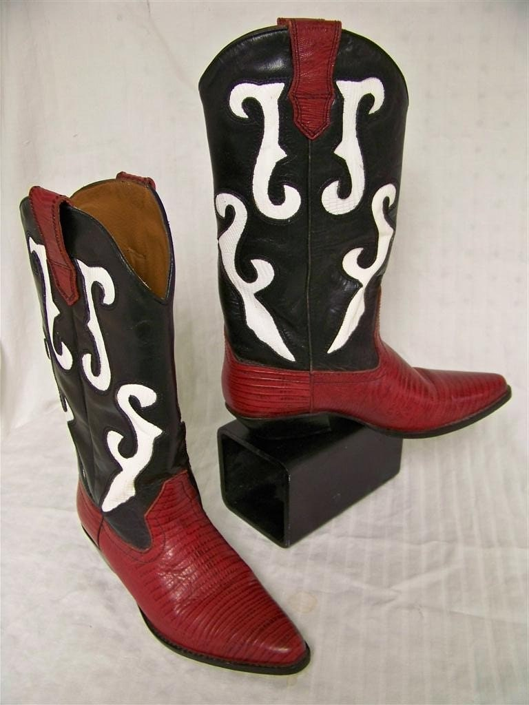 Wanted Cinderalla Cowgirl to Fit Red Leather Cowboy Boots 5-1/2