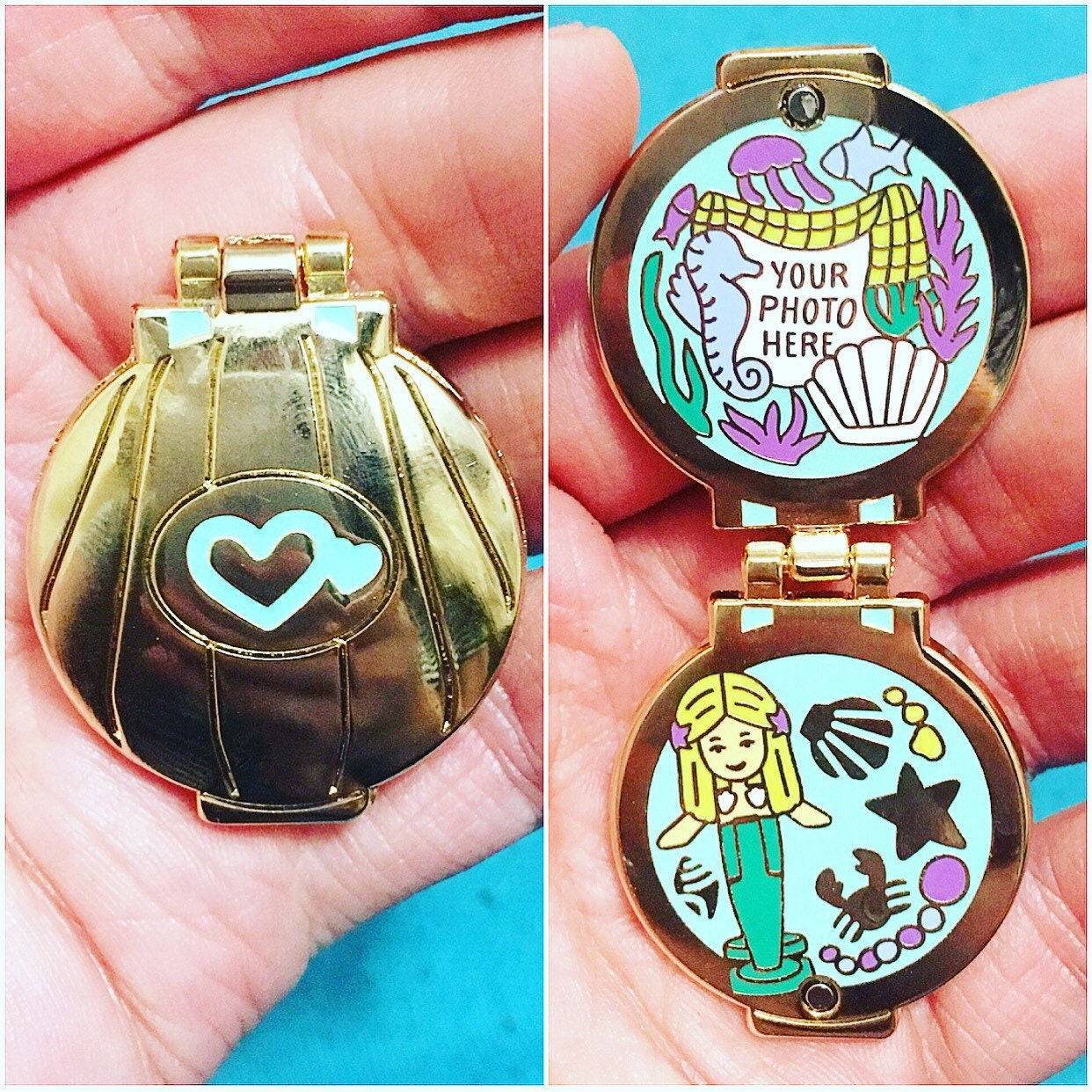PEACHish Polly Pocket mermaid Hinged locket pin with 4 sides of enamel detail! Also available with a necklace loop. Polly pocket