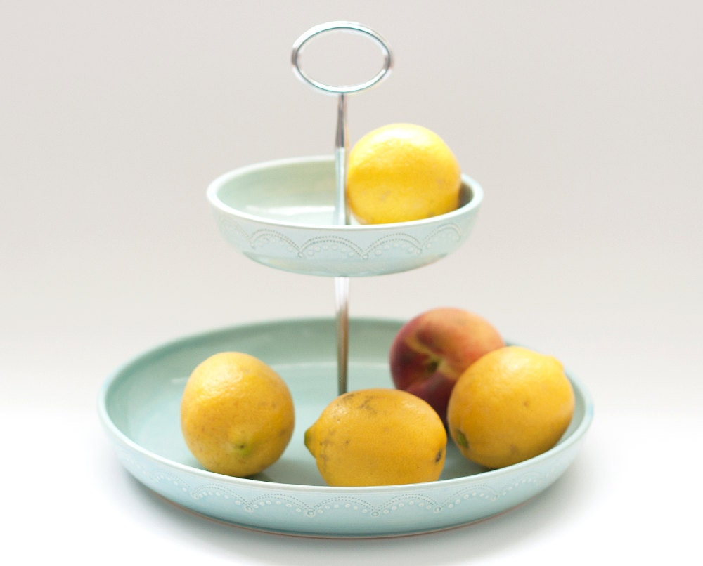 Fruit basket 2 tiered fruit bowl aqua by jeanettezeis on etsy - Tiered fruit bowl ...
