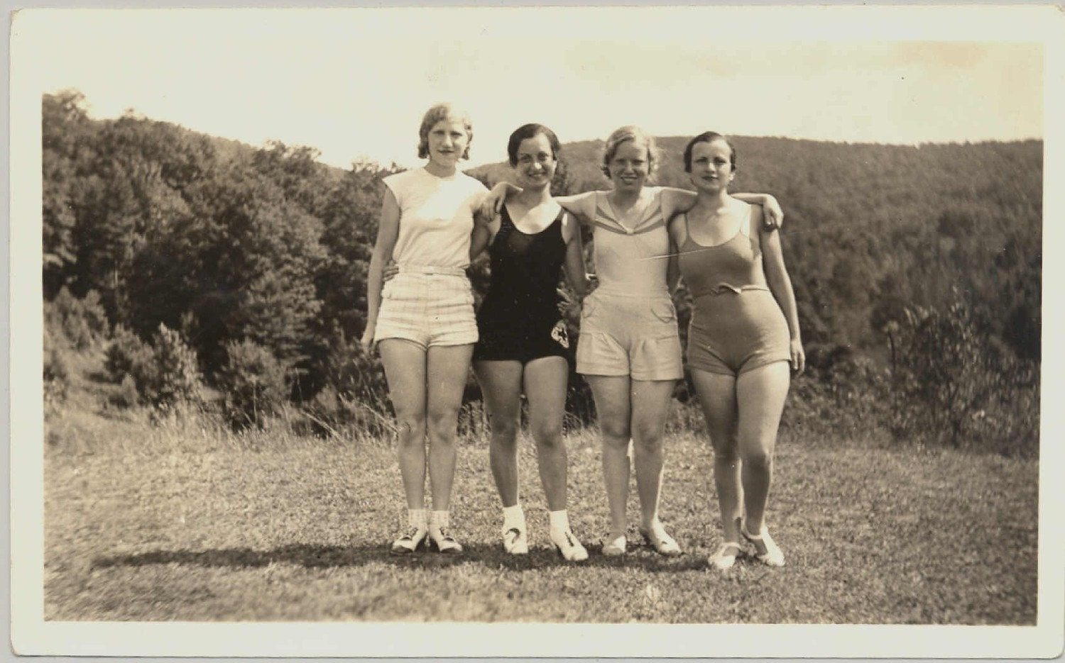 Bathing beauties vintage photo of four women by romancewriter
