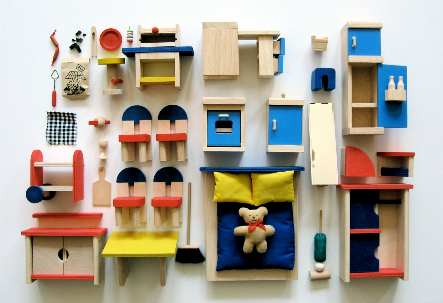 wooden dollhouse furniture lot made in by daisychainvintage