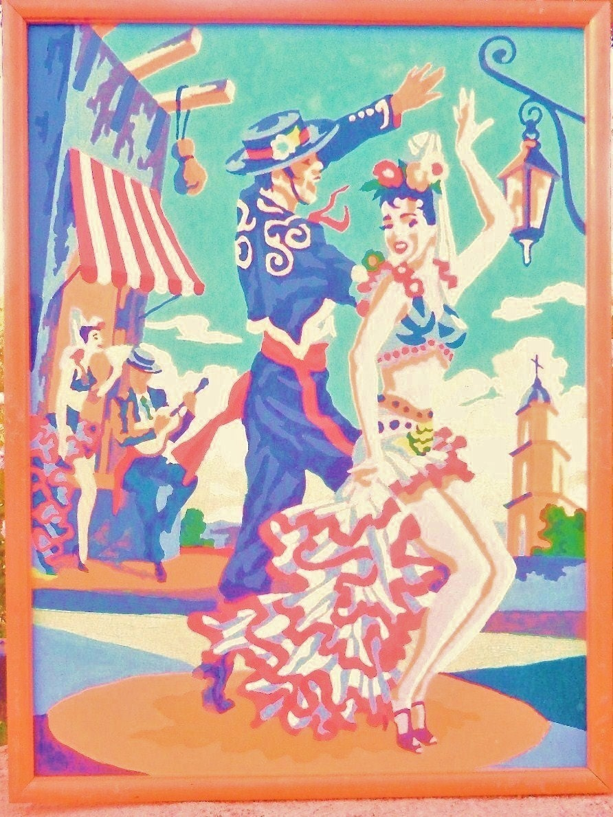 VINTAGE OIL PAINT By Numbers Mid Century Flaminco Dancers Colorful 12 x 16 ready to ship