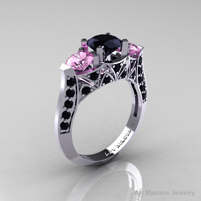 Modern 14K White Gold Three Stone Black Diamond by DesignMasters