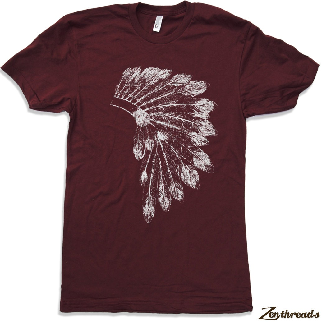 Mens native american headdress american apparel t by for American apparel t shirt design