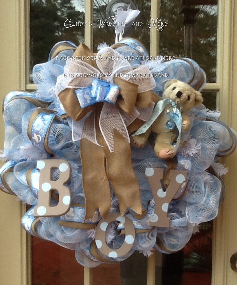 baby boy wreath nursery wreath burlap shower gift baby wreath boy