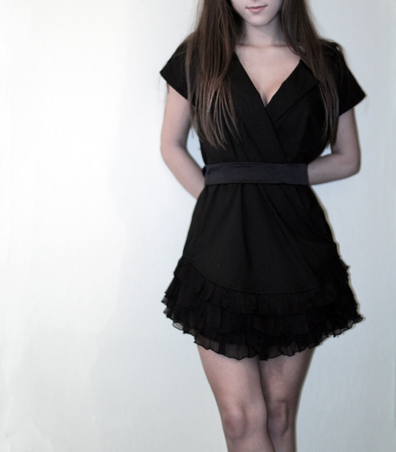 Black Wrap Dress with Silk Ruffles
