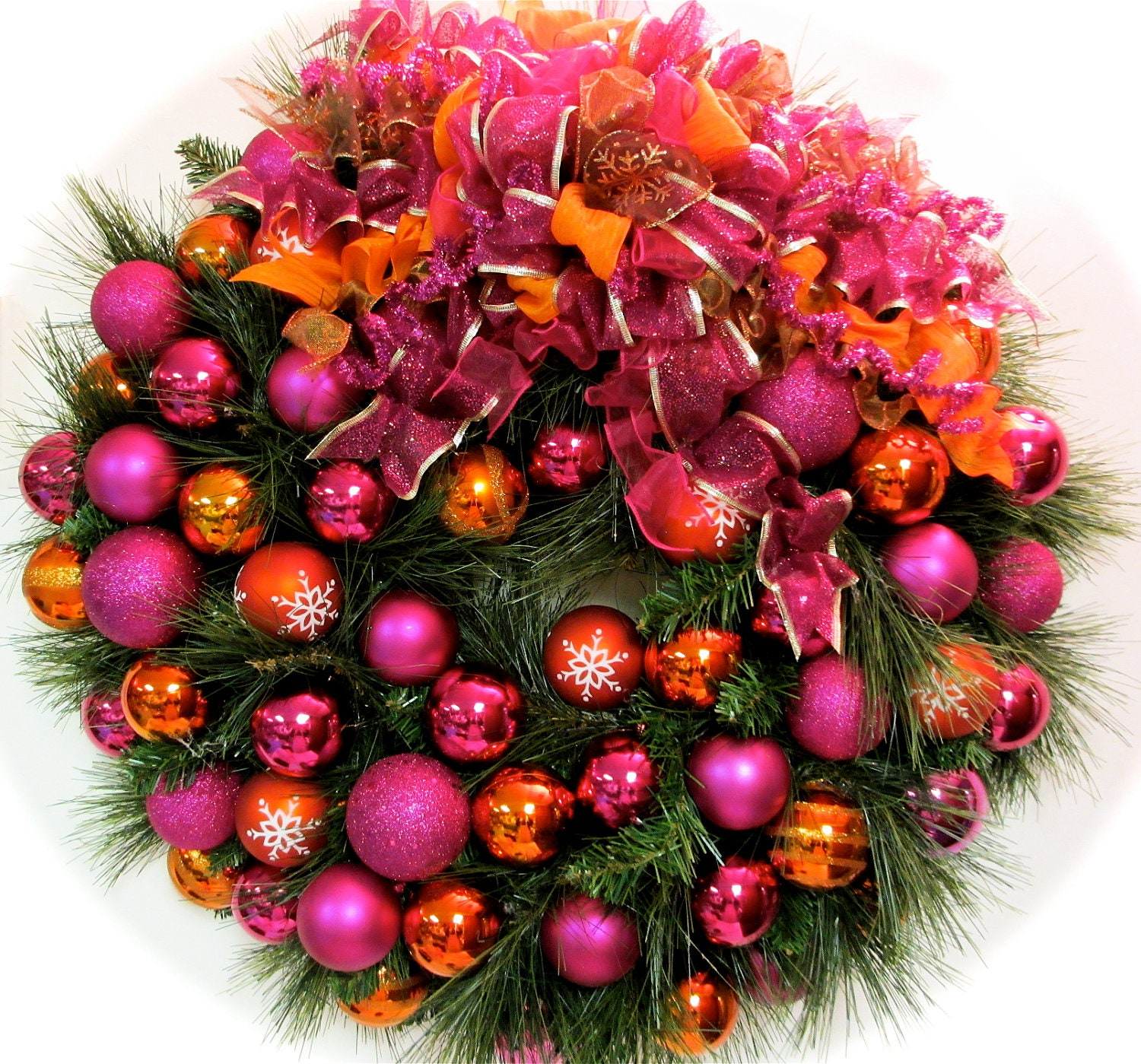 "Bright Christmas Wreath Pink and Orange Pine Holiday Wreath  (XL Approx 27"")"