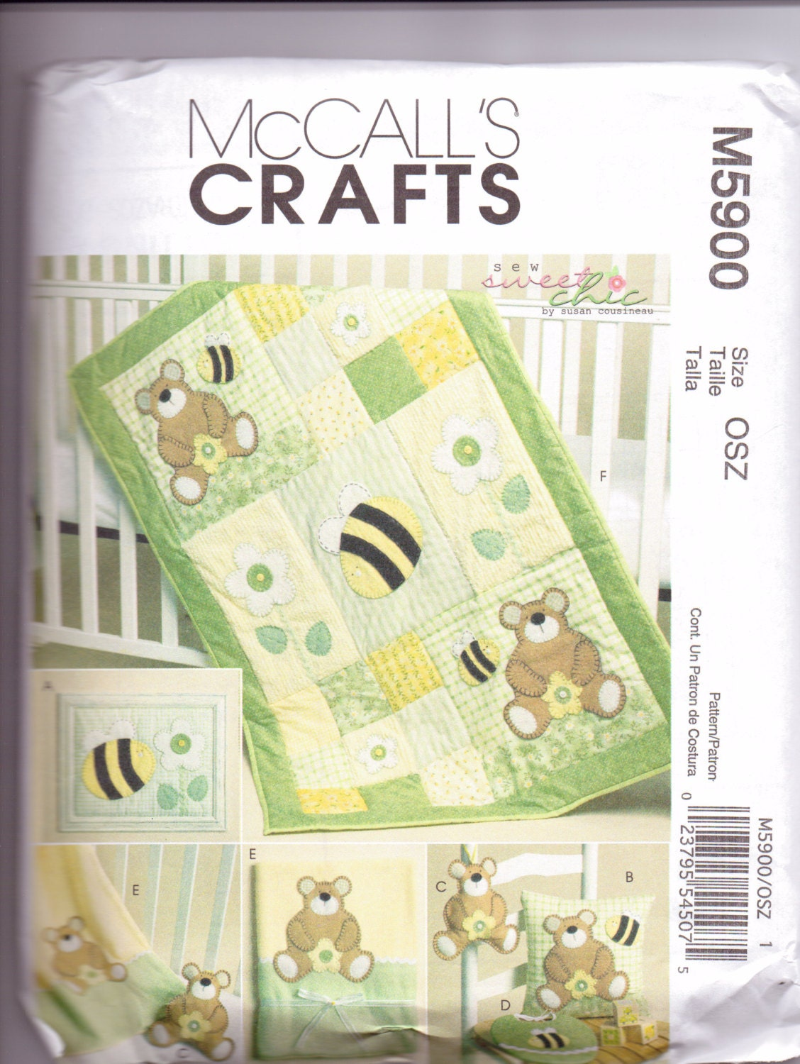 Baby Quilt Patterns Mccalls : Items similar to New McCalls Quilt pattern Bears and Bees baby quilt pillow bib toy extras on Etsy