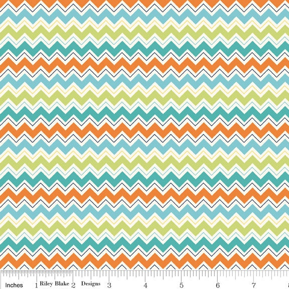 Teal and Orange Chevron Fabric Dress Up Days by Riley Blake | FotoFuze