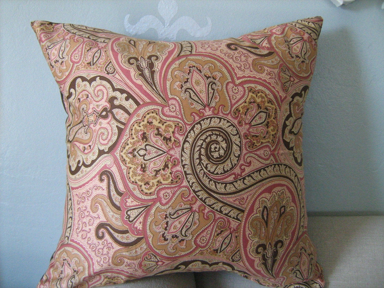 sale pink and brown paisley pillow cover 16x16 by dedeetsyshop. Black Bedroom Furniture Sets. Home Design Ideas