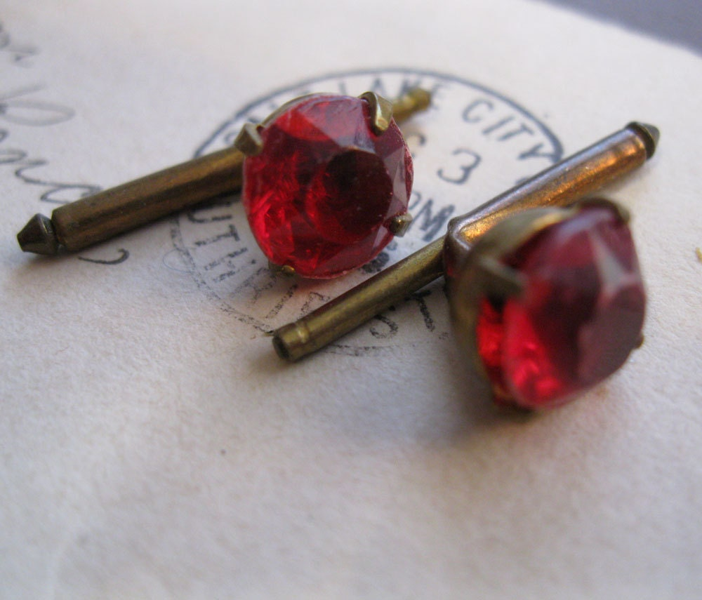2 vintage tuxedo buttons - bling, spring loaded, faceted red plastic rhinestones