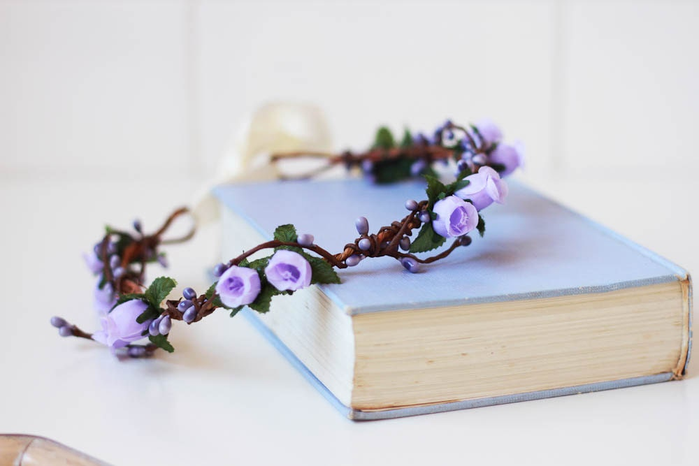 little romantics rose hair wreath // lilac lavender - vintage, woodland, wedding, dainty rose headpiece, headband, hair crown, - kisforkani