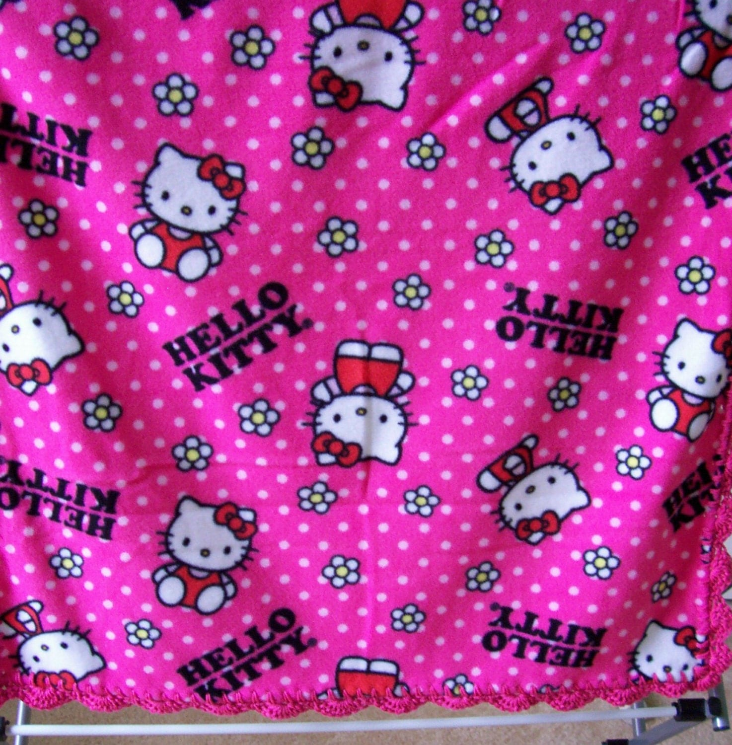 HELLO KITTY Baby Blanket Bright PINK polka by ...
