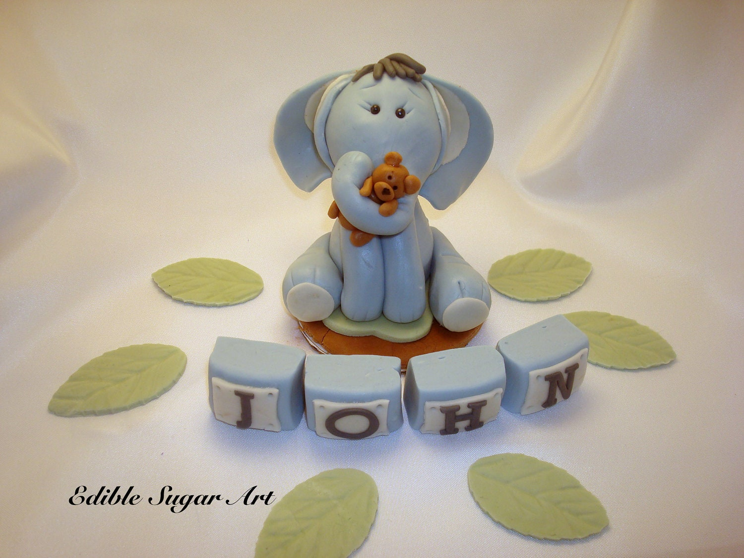 edible elephant cake topper baby shower baptism by ediblesugarart