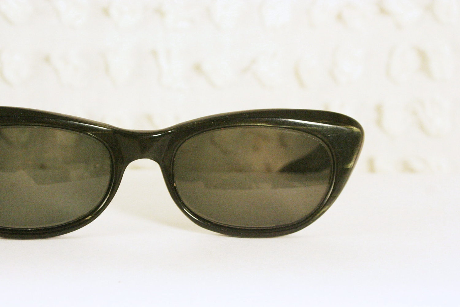 Black Cat Eye 1960s Eyeglasses Frames with Green by ...