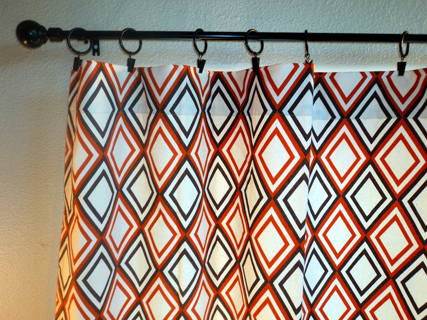 Items similar to curtains drapes brown and orange pair - Orange and brown curtains ...