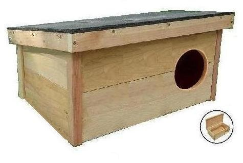 Cedar Wooden Outdoor Cat House Shelter Home: RIGHT side ROUND entrance