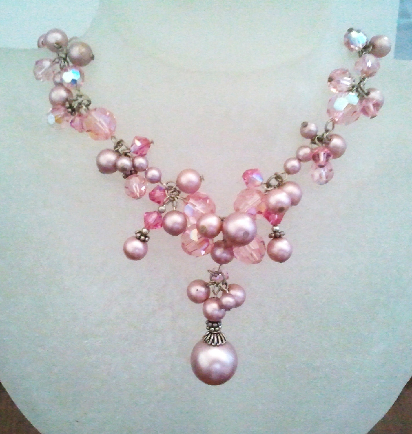 Bridal lovely light pink crystal & pink pearl Necklace  / Romantic Vintage Style Wedding Jewelry