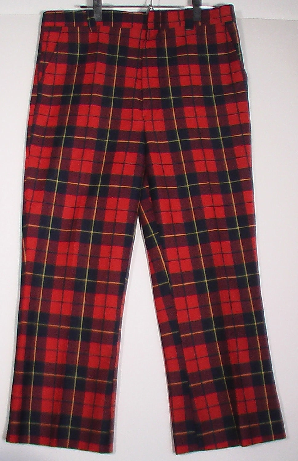 Men S Punk Red Plaid Polyester Knit Pants Vintage By