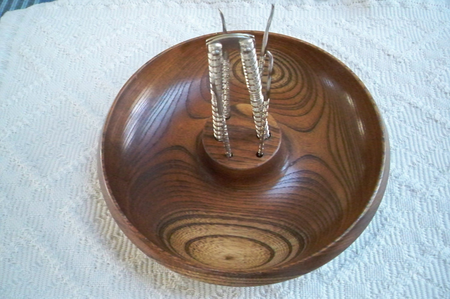 Vintage wood nut bowl with cracking tools by thisandthatcapecod