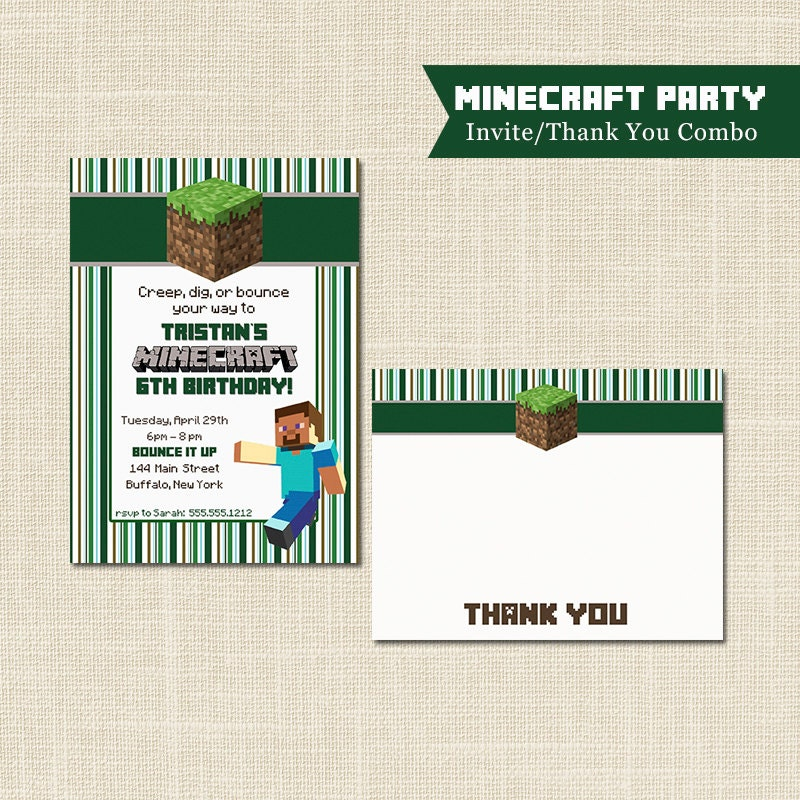 MINECRAFT birthday, INVITATION and Thank You Note, Digital file or ...