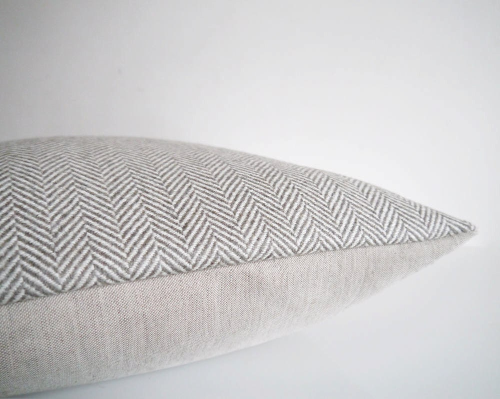 Grey Herringbone Throw Pillow : Throw pillow: cream and gray herringbone pillow in by EarthLab