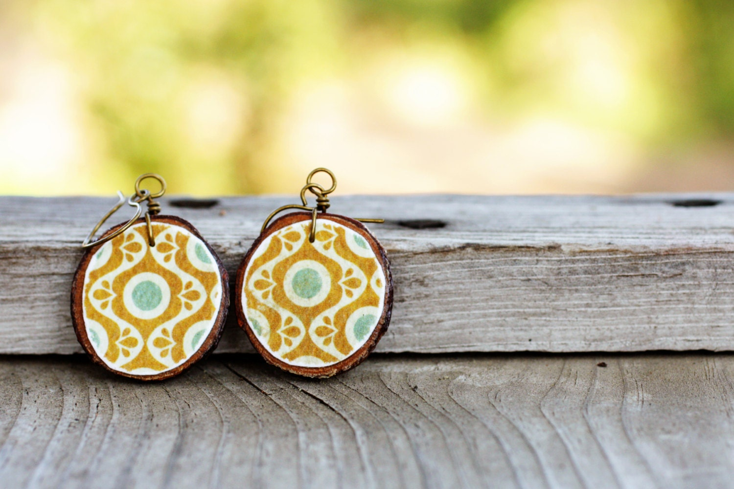 Handcut wooden earrings Vintage inspired earthy natural jewelry Handmade by The Paisley Mill in San Diego California . SoPHie - ShelleySchott