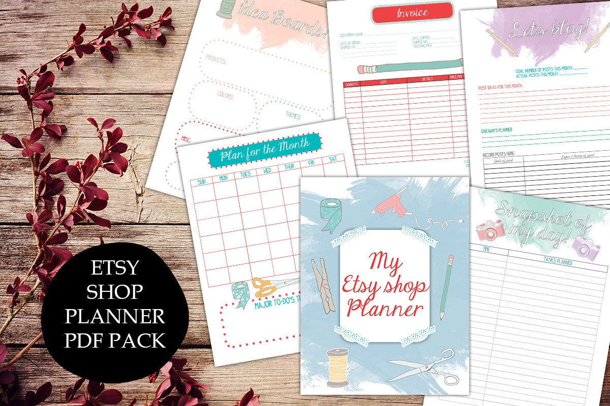 etsy shop planner printable etsy business plan by