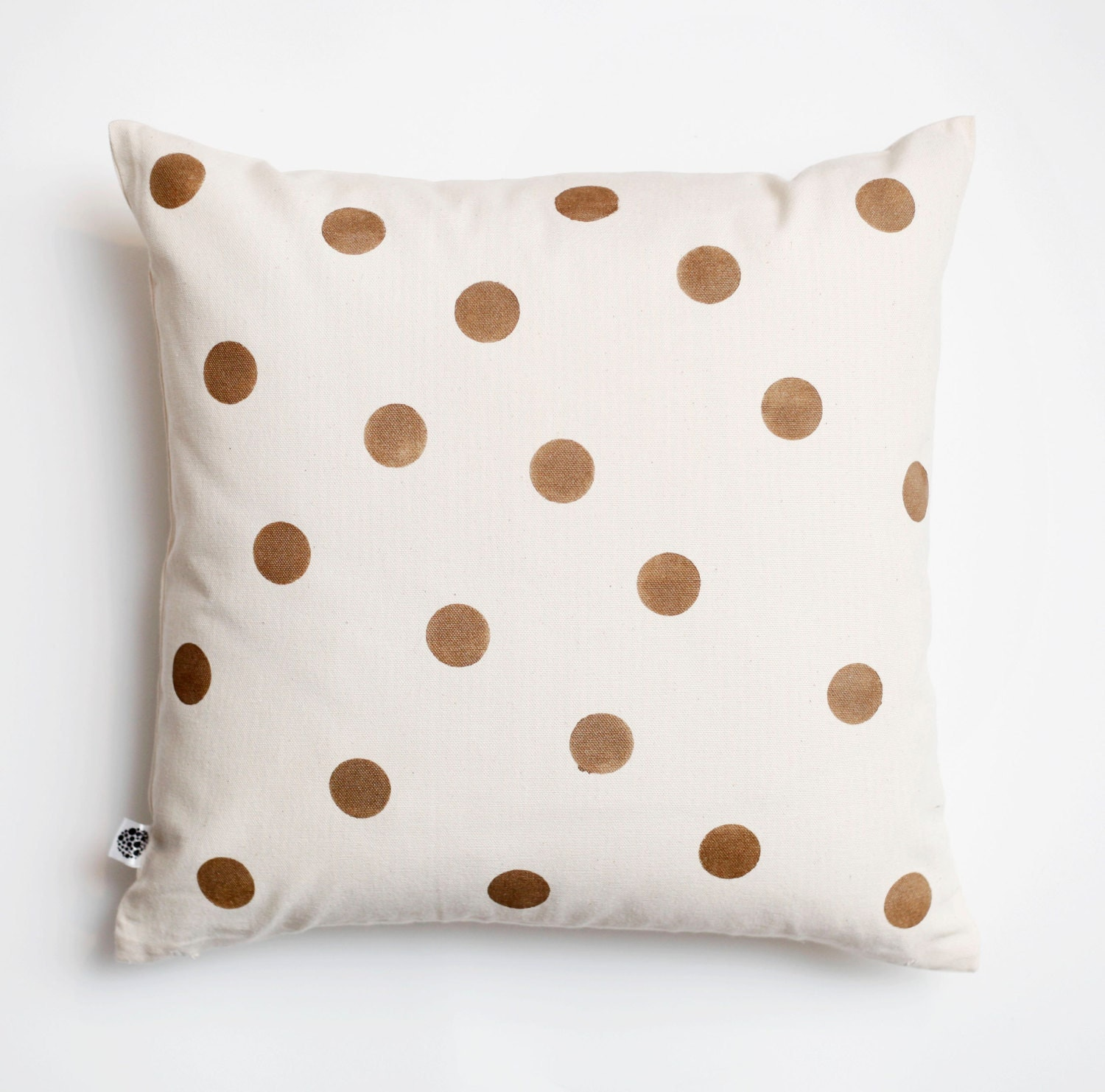 How To Make A Decorative Pillow By Hand : Decorative pillow cover golden polka dots hand by pillowlink