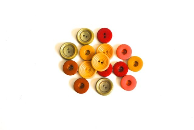 Vintage Buttons - Fall Colors - charliesnest