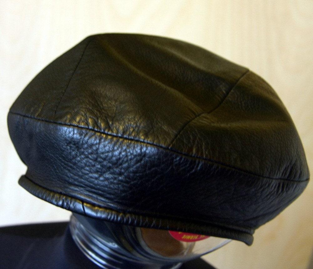 Black Vintage Leather Beret Hat By Misele On Etsy