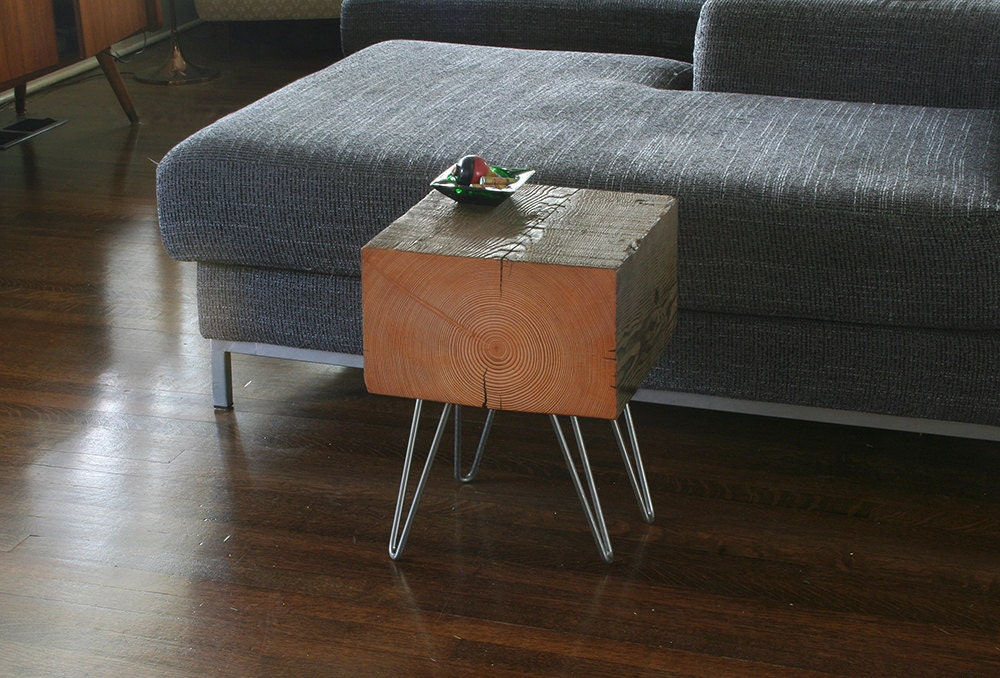 koan mini coffee table with hairpin legs - reclaimed old growth, modern industrial - deep forest raw beauty - birdloft