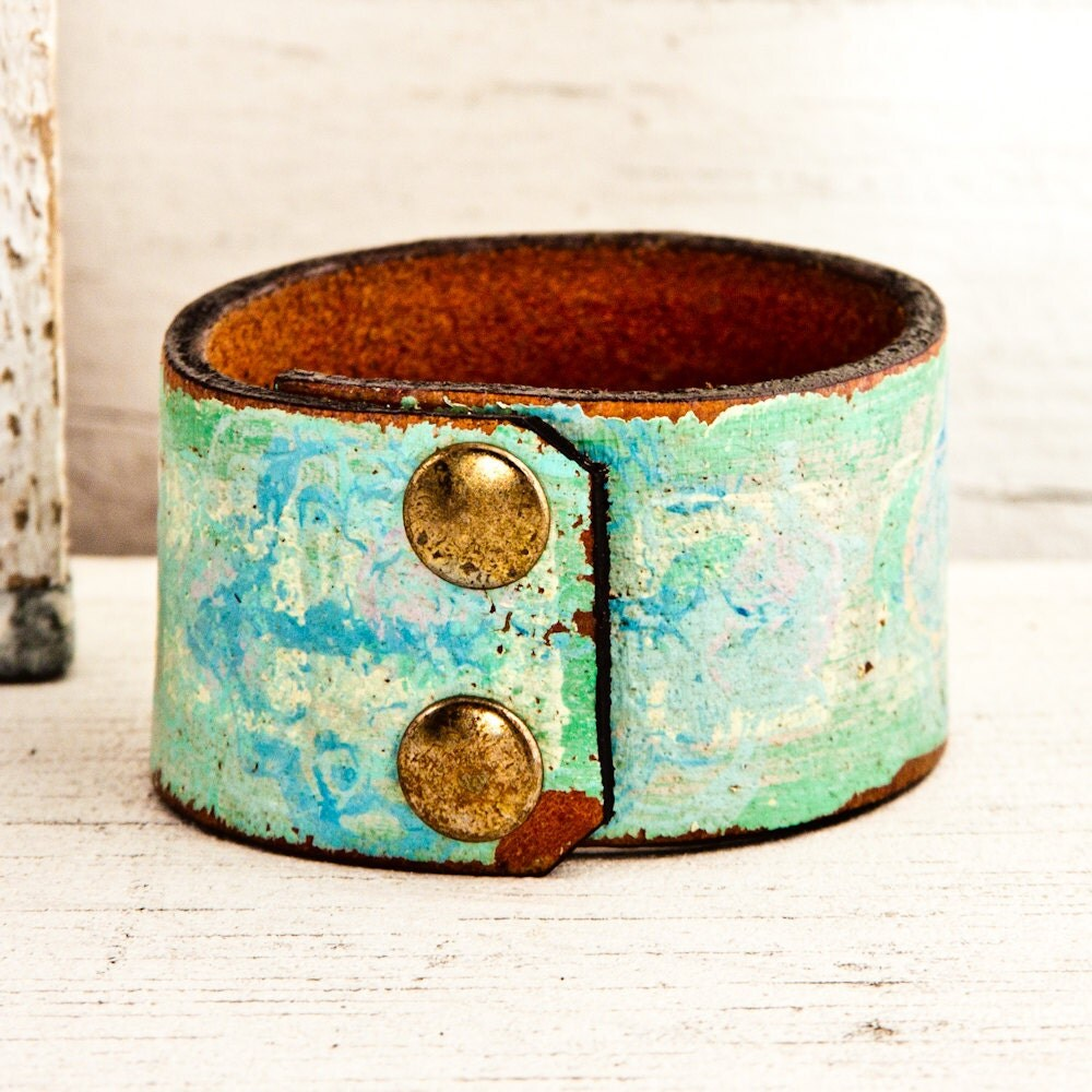 Summer Colors Women's Leather Wristbands Cuffs Bracelets OOAK