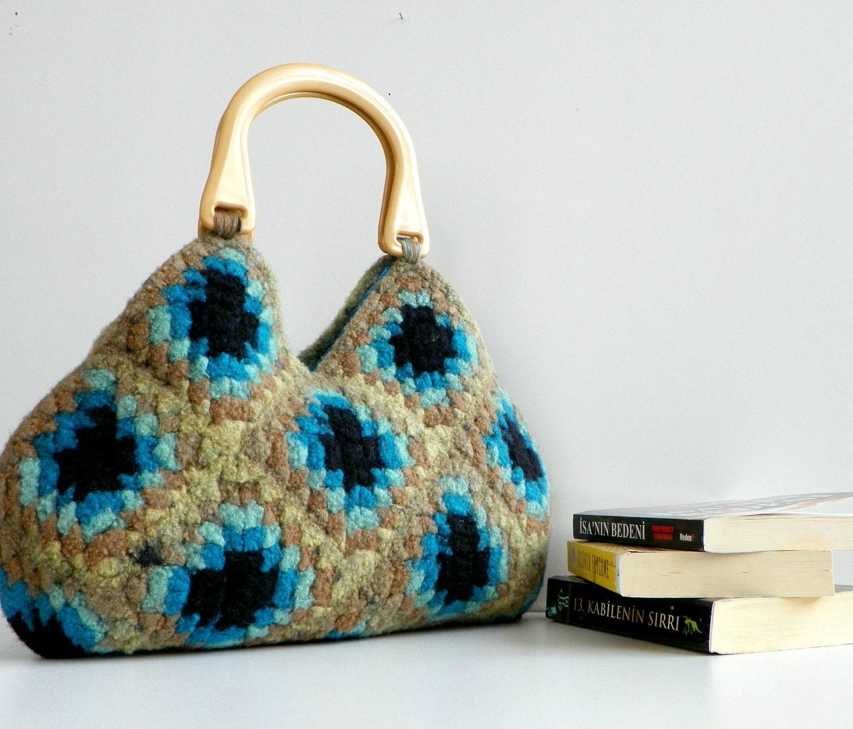NzLbags-войлочная шерсть вязание крючком Бабушка площади Сумочка - Оттенки Замечательный Цвет - Nr-0198