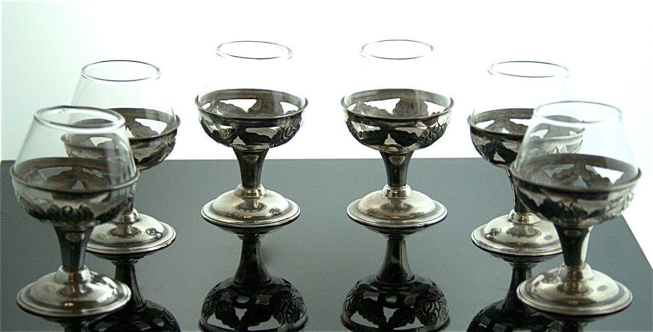 Antique Snifter Glasses - Sterling Silver Over Glass
