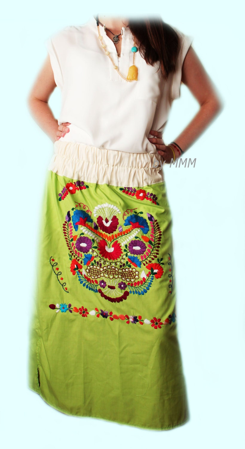 Mexican embroidered skirt by mimeromexico on etsy