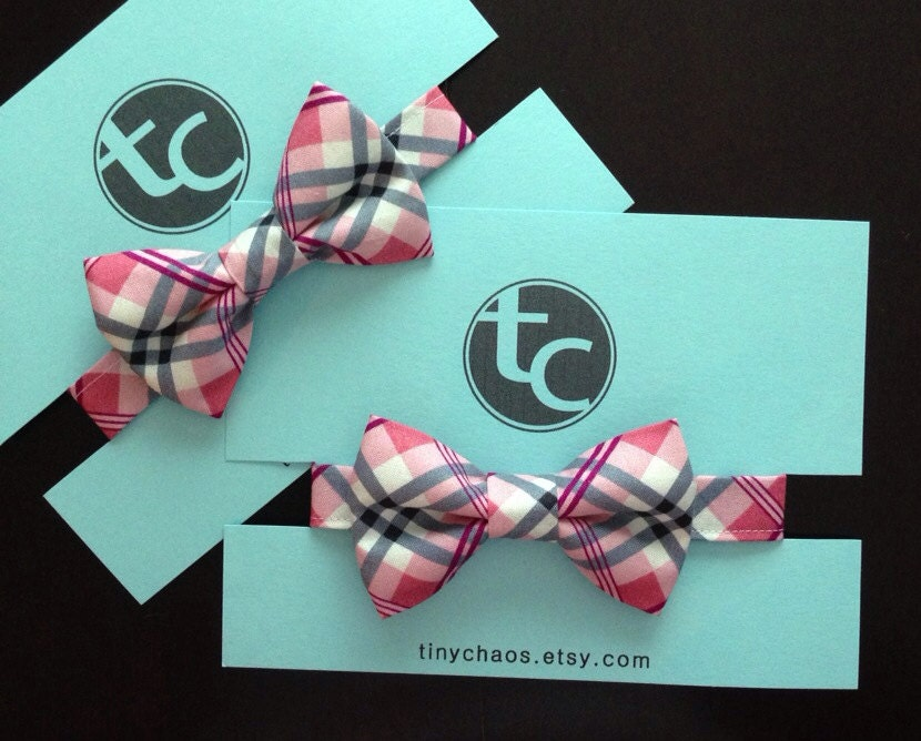 Pink and Black Plaid Bow Tie for Baby and Toddler - Perfect for Weddings or Portraits
