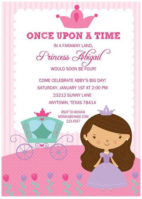 Princess Birthday Party Invitations by Paper Monkey ...