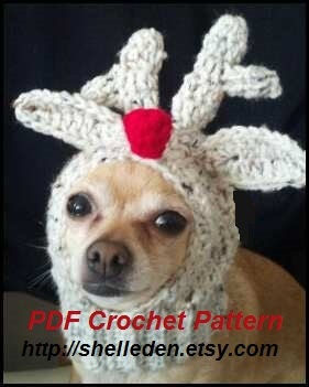 Free Reindeer Hat Crochet Pattern For Dogs : PDF Crochet Pattern for Doggie Reindeer Hat for Small by ...