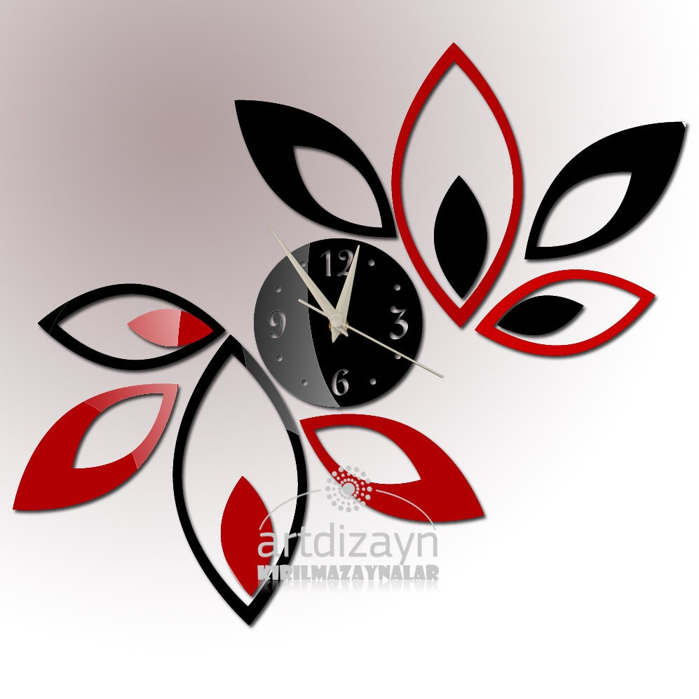 Modern wall clock red and black living room by walldecal76 for Red and black wall clock